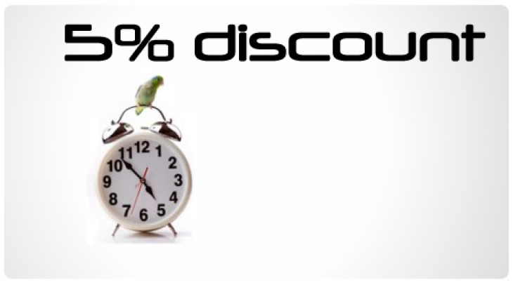 5% Early Bird special discount